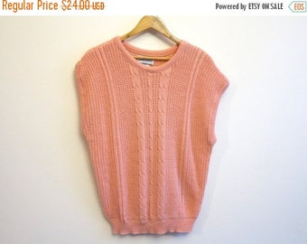 ON SALE Salmon Pink Cable Knitted Womens Vest Ladies Waistcoat Oversized Sheer Knit Sleeveless Sweater Pullover