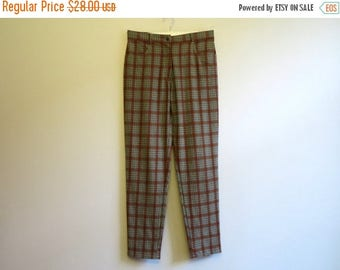 ON SALE Vintage 1990s Brown Grey Plaid Pants High Waisted Womens Trousers Checkered Pants Tapered Pants Medium Size
