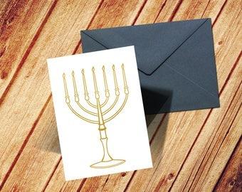 Gold Foil Menorah Card, Hanukkah Menoria Card, Hanukkah Greeting Card, Happy Hanukkah Card, Modern Hanukkah Card, Jewish Greeting Card