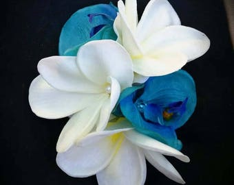 BRIDAL HAIR FLOWERS, Silk flowers, hair clip, Tropical flowers, Wedding headpiece, turquoise flowers, Fascinator, Beach Wedding, Hawaiian