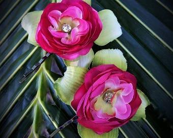 TROPICAL HAIR FLOWER Pins - Hawaiian Peony, Bridal Flowers, Beach Bride, Hair clip, Flower Hair Accessory, Wedding Hair Flowers, Fascinator