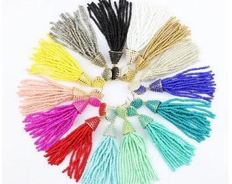 Beaded tassel earrings, Statement seed bead earrings, tassel earrings, bridesmaid gifts, wedding tassel earrings, bridal earrings