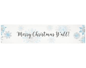 Merry Christmas yall, table runner, Christmas party decor, snowflake tablecloth rectangle, white decorations