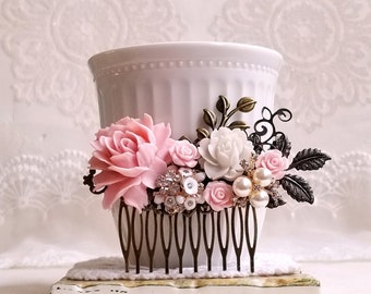 Country garden hair accessory Shabby chic bridal hair comb Rustic pink and white wedding comb