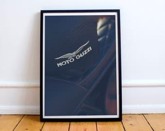 Original Moto Guzzi photography, crest on the helmet, café racer décor