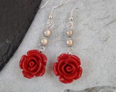 Red Rose Cabochon and White Miracle Bead Dangle Drop Fashion Earrings Wedding UK