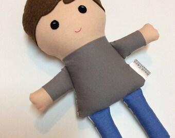 Boy Fabric Doll, Two Sided Gabe Doll, 10 inch Fabric Doll, Handmade Cloth Doll, Rag Doll, Sleepy Doll, Ready to Ship