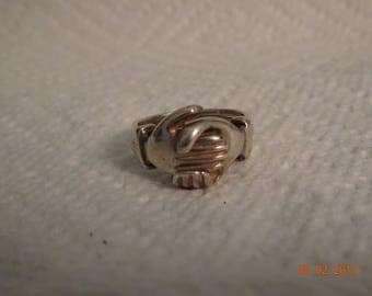 Sterling Silver Hands & Heart Ring - size 5