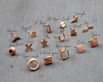 Minimalist Rose Gold Earrings, Minimalist Tiny rose gold earrings, Rose gold post earrings, Rose Gold Stud earrings Rose Gold Jewelry