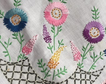 Vintage Embroidery Floral Table Topper