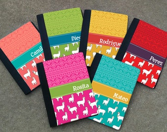 Personalized SMALL Alpaca Themed Notebook - Personalized ALPACA Patterned Padfolio case