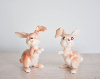 Vintage Brown Bunny Rabbit Salt and Pepper Shakers Small Animal Figurines Glass Bunnies Rabbits Summer Outdoors Easter Decor Decorations