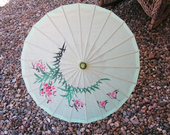 Vintage Asian Hand Painted Parasol Umbrella in Green with Pink Flowers Bamboo and Blended Silk Bohemian Boho Photo Prop