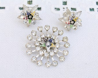 Vintage 40s Set Eastern Star Cloisonne Rhinestone Screw Back Earrings and Brooch Set Perfect Condition Silver Tone Setting