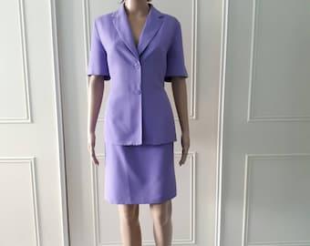 CLEARANCE Dorothy Perkins 1990's vintage suit summer suit violet knee length skirt short sleeved jacket ladies suit size 14