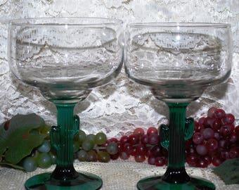 "2 Pc Set 6"" & 6-1/4"" Libbey Cactus Stemmed Margarita Glasses"