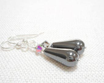 Hematite Teardrop Earrings, Silver and Gray Stone Beaded Drop Earrings, Grey Swarovski Crystal Dangle Earrings, Hematite Gemstone Jewelry