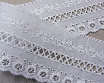 Natural Embroidery Cotton Eyelet Lace Trim White 14 yards #mj