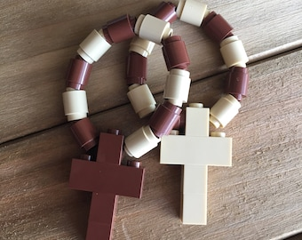 Pair of One Decade Rosaries made from Lego bricks - Brown & Tan Catholic Rosary/Chaplet