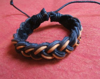 bracelet 19 cm yellow and black leather backing