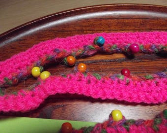 2 meters of crocheted wool trim with decorative beads