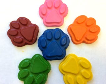 30 BULK  Rainbow Dog  Paw Print  Crayons  Birthday Party Favors