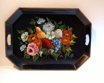 Vintage Floral Tole Painted Serving Tea Tray