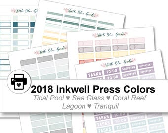 2018 Inkwell Press Planner & other Planners Quarter Box Printable Sticker Kit, Tidal Pool, Sea Glass, Coral Reef, Lagoon - Instant Download