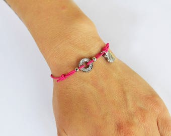 Pink Stretch Bracelet with Rhinestone rondelle
