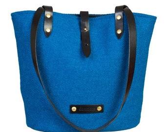 The Arran shoulder tote in sky blue Harris Tweed