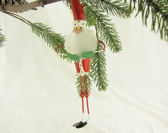 Unique Christmas Ornament Funny Santa Claus Metal Tree Decoration Big Ornament Rustic Cottage Chic Ornament Big & Hand Painted
