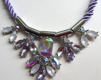 iridescent crystal stones lilac rope necklace