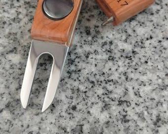 Teak Laser Engraved Divot Tool