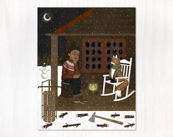 winter cabin postcard