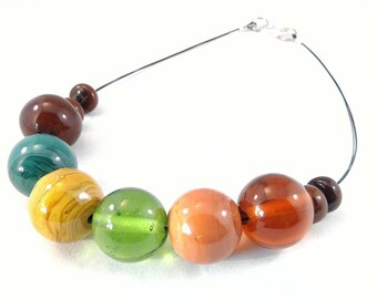 Glass necklace giant beads. Necklace