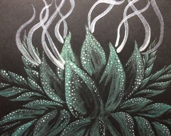 Original Bud Sketch - Metallic Green