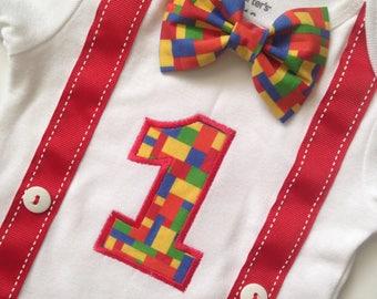 Birthday Outfit, Legos First Birthday bodysuit, Boys 1st Birthday, Birthday Outfit, Boys Birthday Outfit, Lego Birthday Shirt