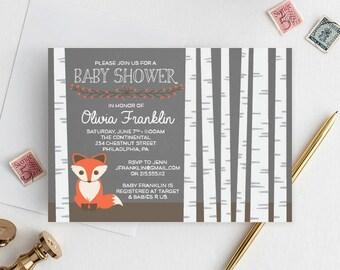 Birch Tree Baby Shower Invite - Woodland Baby Shower Invitation - Fox Baby Shower Invite - Couples Baby Shower - Gender Neutral Shower
