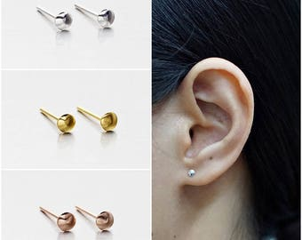 925 Sterling Silver Earrings, Round Bulge Earrings, Gold Plated Earrings, Rose Gold Plated Earrings, Stud Earrings, Size 3 mm (Code : E34A)
