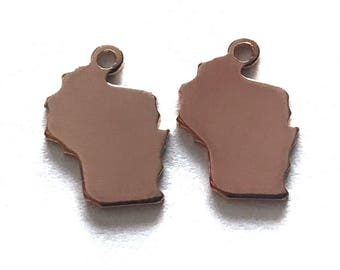 2x Rose Gold Plated Blank Wisconsin State Charms - M132-WI