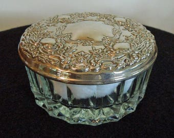 Vintage Glass and Silver Plated Powder Box