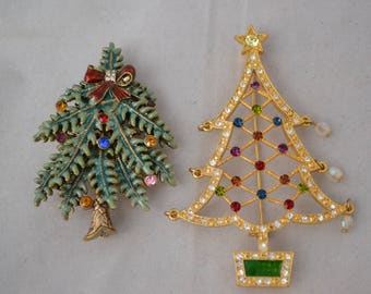 Two Avon Christmas Tree Brooches/Pins 2004 & 2005