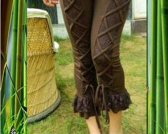 "LEGGINGS STRECH AND ""PSY TRANCE"" CHOCOLATE LACE"