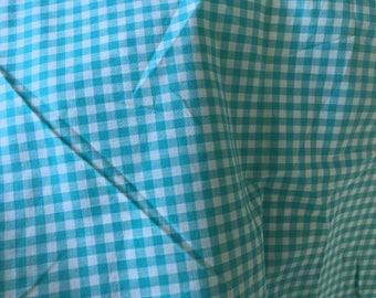 Vintage aqua gingham, snall check super soft cotton