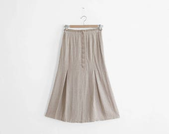Vintage Skirt - Long/High Waisted - Linen/Rayon - Made In France