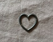 Heart Connector -  Oxidized Silver