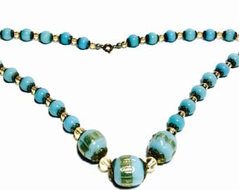 Art Deco Blue and Gold Foil Bead Necklace