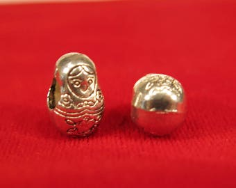 "BULK! 15pc ""Russian doll"" european charms in antique silver style (BC25B)"
