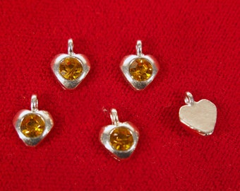 "BULK! 50pc ""topaz - orange"" heart charms in antique silver style (BC1343B)"