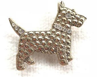 Vintage Gold Tone Dog Brooch